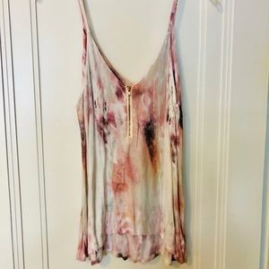 Multicolor cotton tank with front zipper